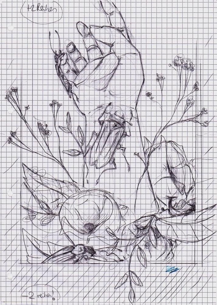 IMHand mit Käfern - Skizze