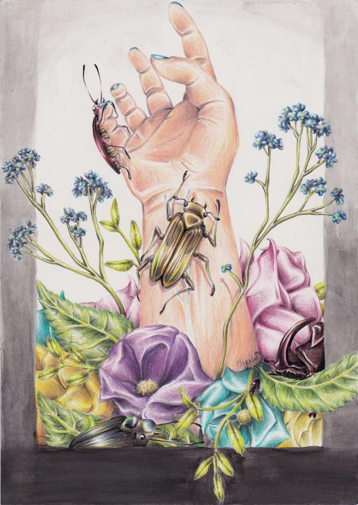 Hand mit Käfern