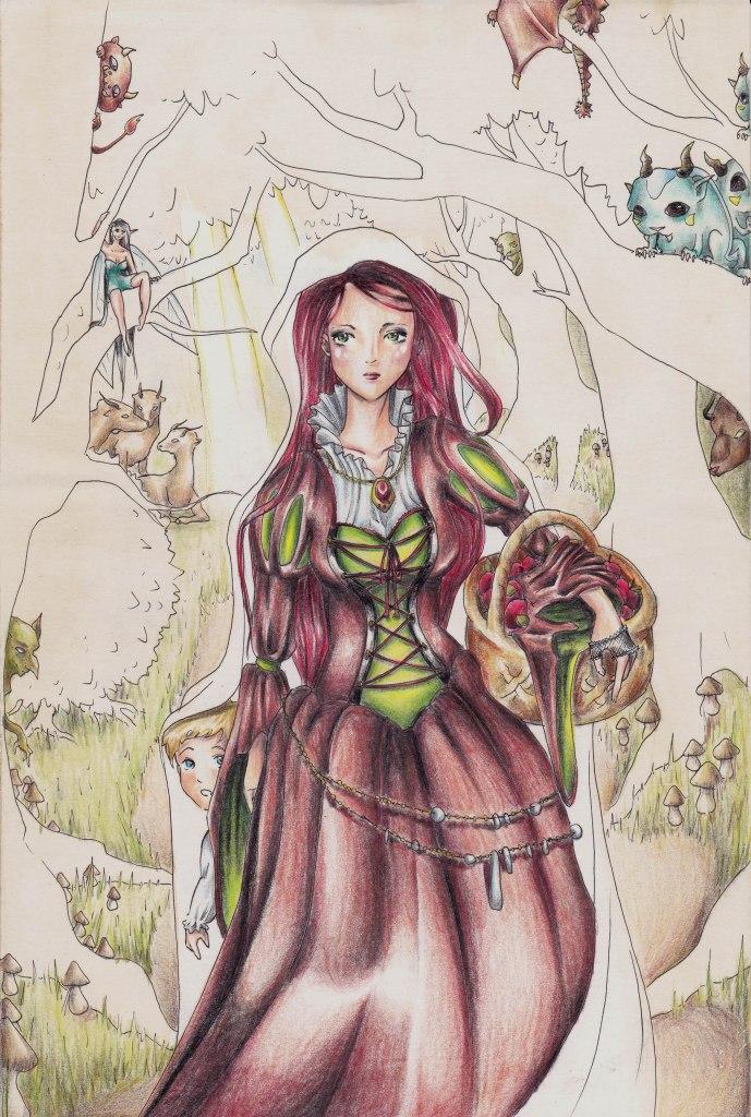 Weg durch den Wald Skizze