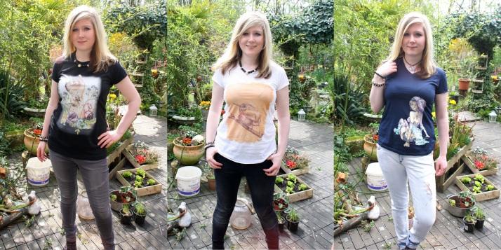 T-Shirt Hand mit Käfern, Todus Multicolor, Gothic Girl
