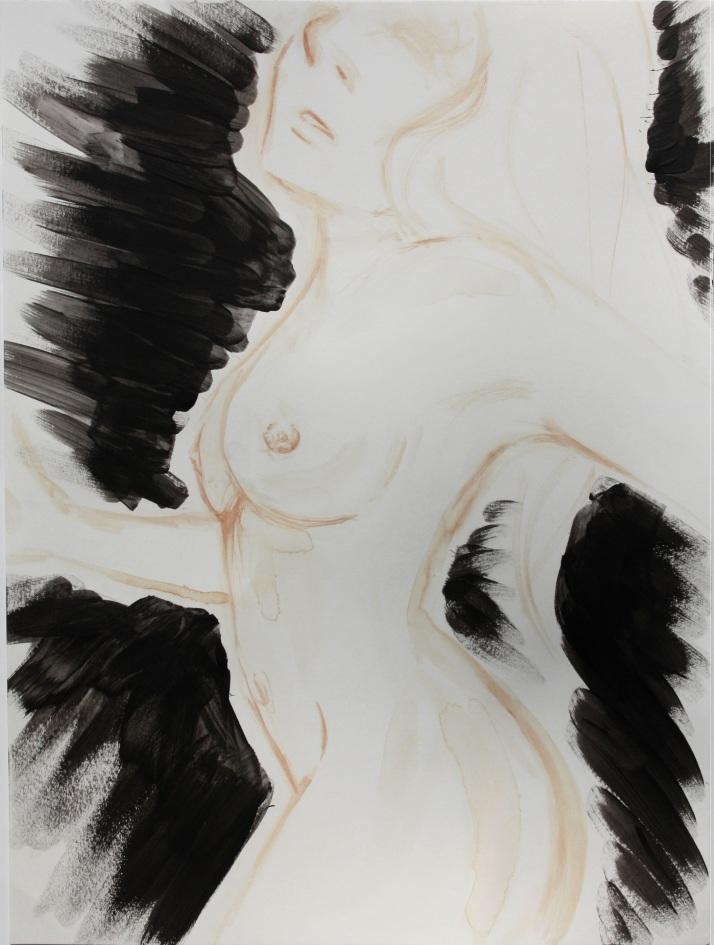 Blutmalerei - Frau mit schwarzem Schein 1