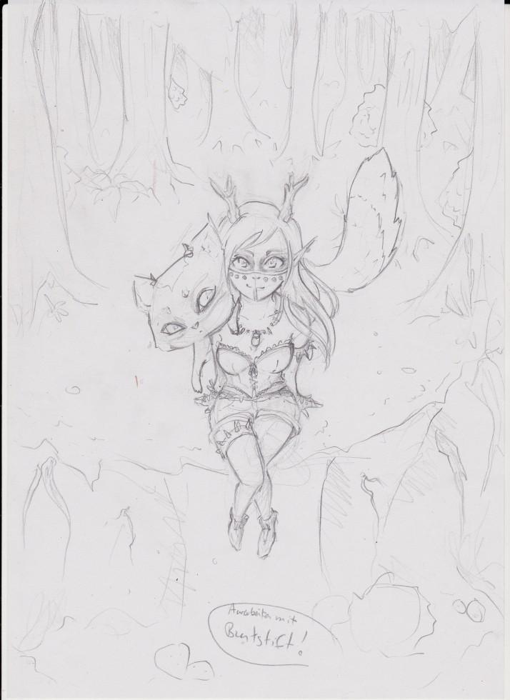 Kamizu und Nekojika im Wald - Zwischenschritt 1