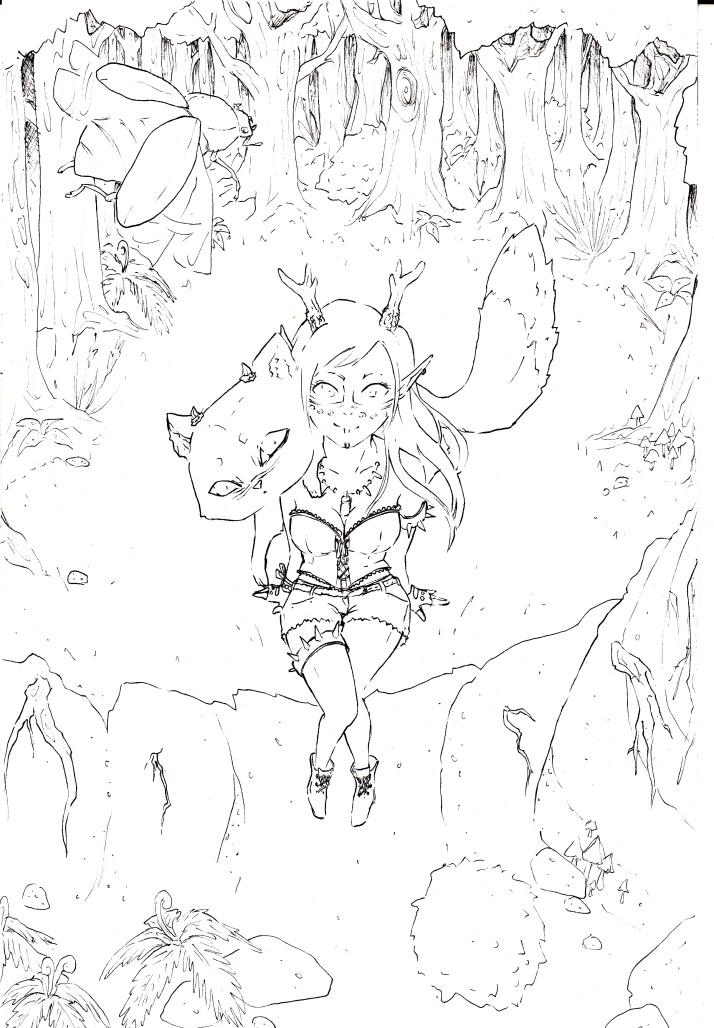Kamizu und Nekojika im Wald - Zwischenschritt 2