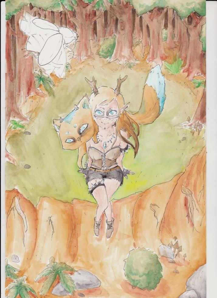 Kamizu und Nekojika im Wald - Zwischenschritt 3
