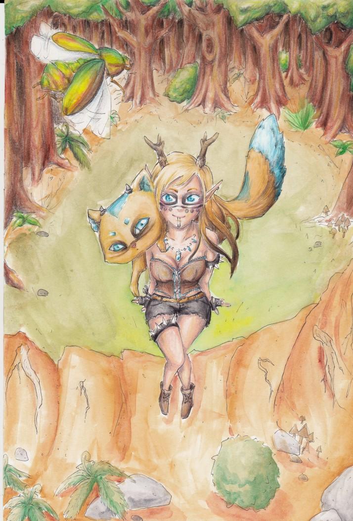 Kamizu und Nekojika im Wald - Zwischenschritt 4