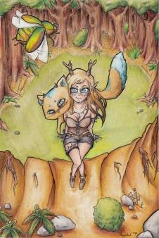 Kamizu und Nekojika im Wald