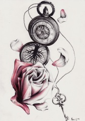 Rose, Schlüssel, Uhr