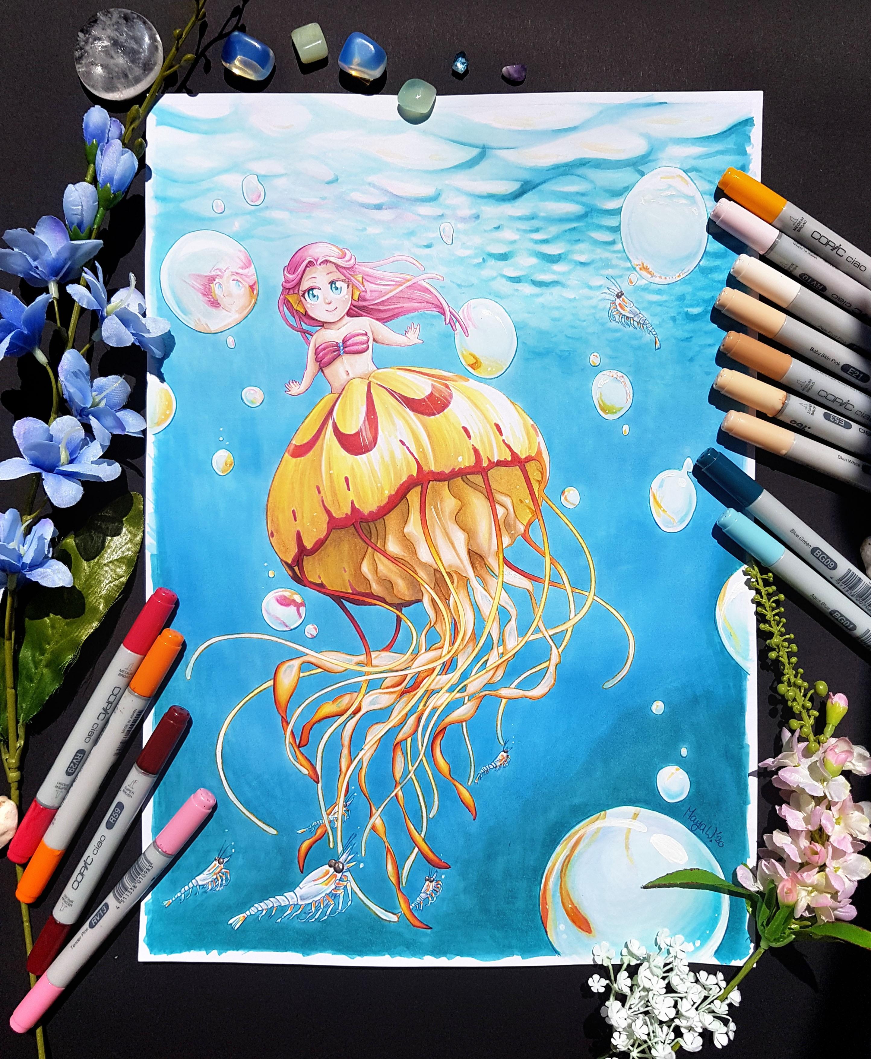 PHOTO 01 - tiny jellyfish meraid dancing with krill - Maya Wendler - Listenes 2020